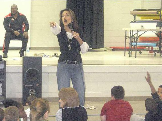 Former Snow White and Beauty Jennifer Beckham fields questions from the kids