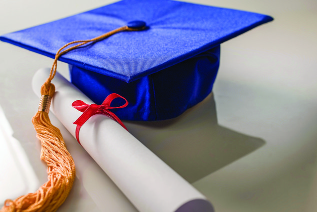 clip art of blue cap and diploma