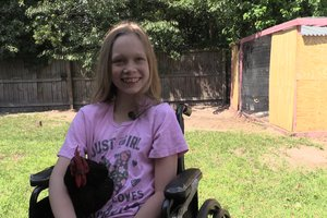 Terminally ill girl with chicken